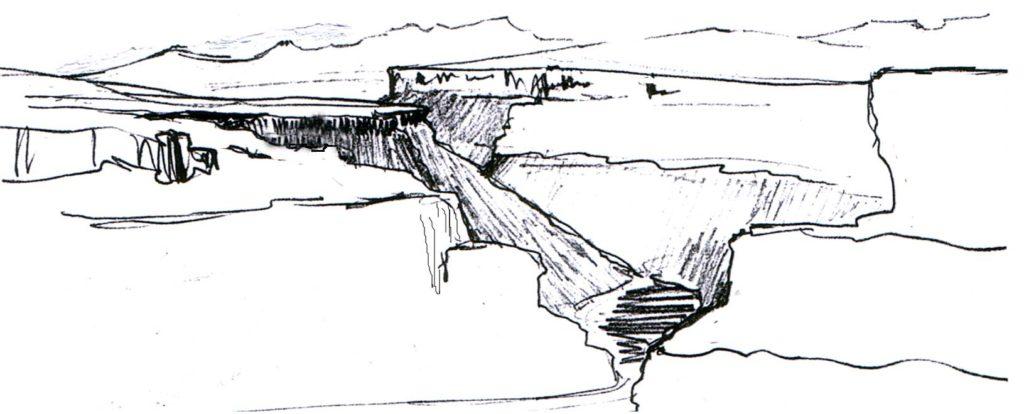 Dibujo Valle Rudrón desde Valdelateja. LI Ortega
