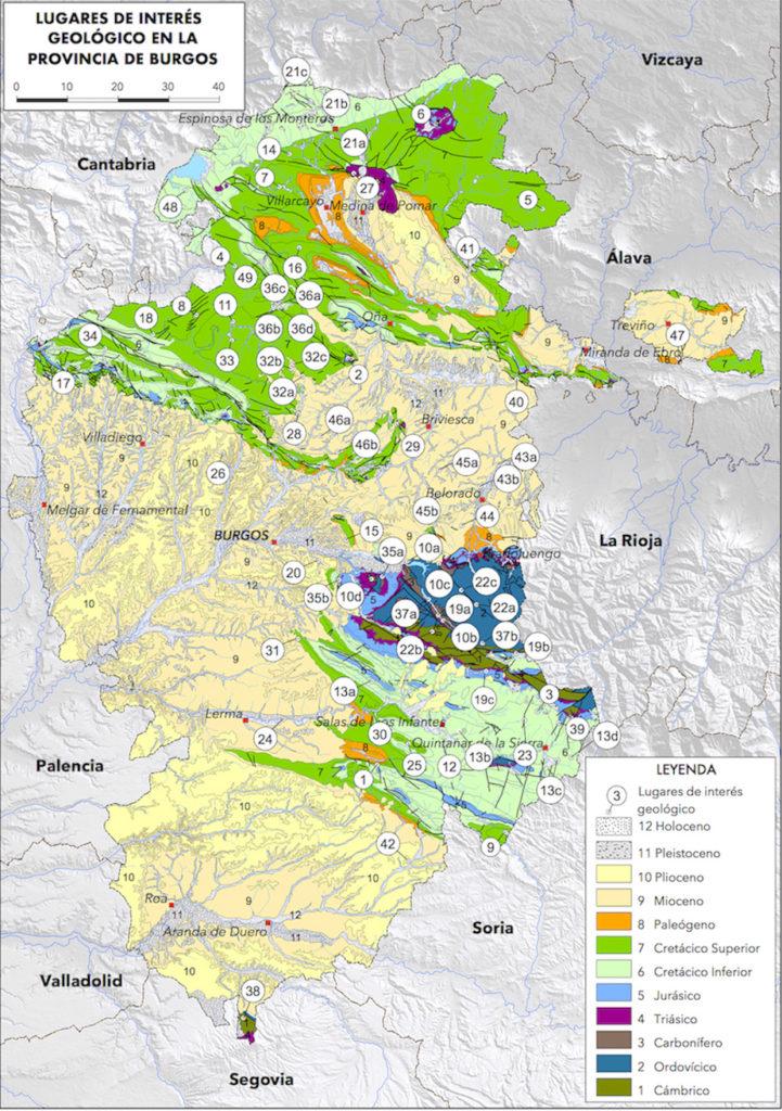 Mapa de Lugares de Interés Geológico de la provincia de Burgos