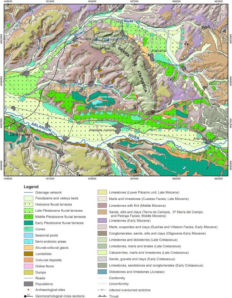 Mapa Geomorfológico de la Sierra de Atapuerca, Benito-Calvo et al. 2015