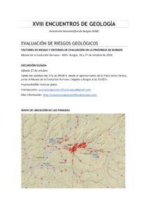 Guión excursión Riesgos geológicos Burgos XVIII Encuentros de Geología AGB.Octubre 2018